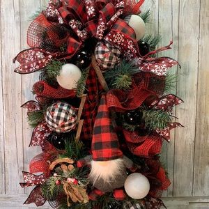 Handcrafted Christmas Gnome Swag Wreath